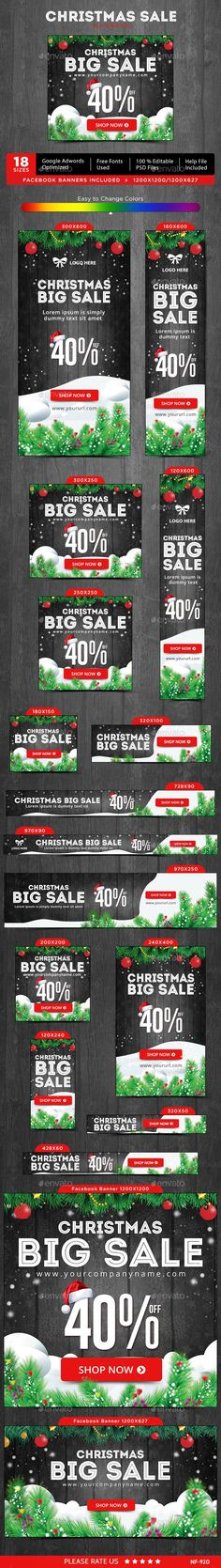 Christmas Sale Web Banners Template PSD #design #ads Download: http://graphicriver.net/item/christmas-sale-banners/14032936?ref=ksioks