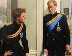 The Princes, William and Harry Double portrait of Prince William and Prince Harry, by artist Nicky Philipps. The first oil portrait of William and Harry was commissioned in 2008 by the National. Prince Harry, Prince And Princess, Princess Kate, Princesa Diana, Diana Spencer, Lady Diana, Prince Charles, Charles Charles, Duke And Duchess