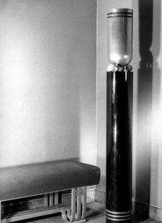 Bench and Floor Lamp in Aluminum, Donald Deskey Radio City Music Hall, New York, c. 1933