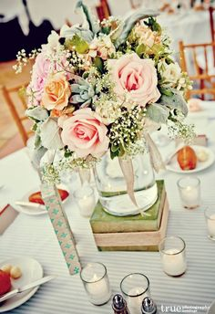 A vintage inspired centerpiece.  Perfect.