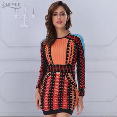 c129476174c Winter Bandage Dress O neck Black Blue Long Sleeve Orange Lace Up Mesh  Runway Dress Women