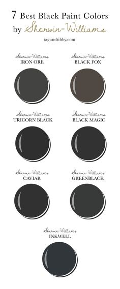 7 Best Black Paint Colors By Sherwin-Williams including Iron Ore, Black Fox, Tricorn Black and Best Gray Paint Color, Pink Paint Colors, Blue Gray Paint, Best White Paint, Front Door Paint Colors, Painted Front Doors, Paint Colors For Home, Exterior Paint Colors, Interior Colors