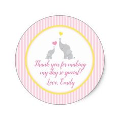 Pink Yellow Elephant Baby Shower Gift Favor Label - baby gifts giftidea diy unique cute