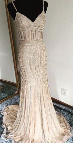Luxurious Trumpet Spaghetti Sleeveless Long Beading Prom Dress OKA23 #beading #mermaid #Luxurious #straps #evening #prom #okdresses