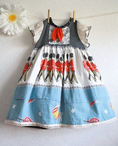 Toddler Girl's Upcycled Dress 3T British England Blue Vintage Fabric Red Soldiers Children's Clothing Eco Friendly 'PIPPA'. $52.00, via Etsy.
