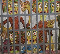Jail/Maarit Korhonen, acrylic, oil pastels, canvas, 73cm x 81cm Dark Paintings, Original Paintings, Online Painting, Artwork Online, Autumn Painting, Original Art For Sale, Art Oil, Find Art, New Art