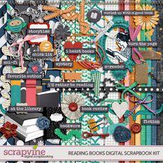 Reading Books Digital Scrapbooking Kit | ScrapVine