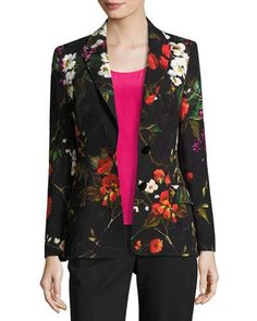 B3X13 Escada Floral Matelasse Jacket, Black/Multicolor