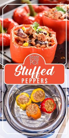 stuffed peppers are a nice childhood memory. I know I loved my mother's recipe and I enjoy sharing the experience with my own family thanks to my Instant Pot pressure cooker.    To prepare the peppers, I carefully remove the top and the seeds and membranes inside, so the pepper looks like a deep bowl. You can use a sharp knife to remove the top, but for the seeds and insides, it's best to use your hands.