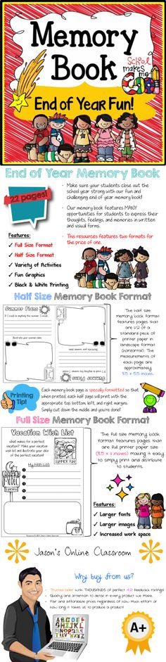 End of year memory book with two formats for the price of one! $