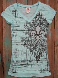 Western Rhinestone Cowgirl Fleur De Lis T Shirt $21.99