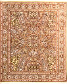 Ghom Design100% Silk Square Persian Rug