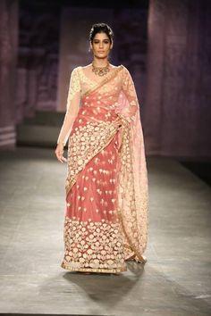 Anju Modi at India Couture Week 2014 - blush peach pink sheer long sleeved sari