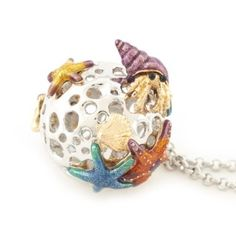 Under the Sea Orb Necklace by Bill Skinner Enamel Jewelry, Jewellery, Victoria And Albert Museum, Under The Sea, Christmas Bulbs, Coin Purse, Jewels, Purses, Holiday Decor
