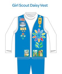 Daisy scout uniform layout.  Tip: To keep the pins from spinning add a small piece of cardboard on the inside of the vest & push the pins through the vest & cardboard.