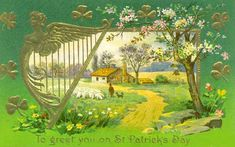 Pretty Irish Countryside Illustration Cards Yes I can say you are on right site we just collected best shopping store that haveThis Deals Pretty Irish Countryside Illustration Cards Here a great deal. St Patricks Day Pictures, Happy St Patricks Day, Saint Patricks, Vintage Greeting Cards, Vintage Postcards, St Patrick's Day Gifts, St Paddys Day, Betty Boop, Cover Photos