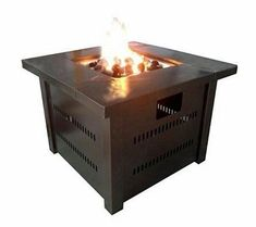 Outdoor Fireplace Pit Steel Stove Square Propane Back Yard Garden Patio Deck New #AZPatioHeaters