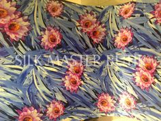 2016 NEW hand screen print silk satin fabric by silkmastersilkshop