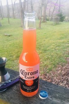 "Corona® Sunrise | ""Tequila sunrise but with Corona® and lime... drink responsibly!"" #drinks #drinksrecipes #drinkrecipes Summer Drinks, Fun Drinks, Dessert Drinks, Mixed Drinks, Party Drinks, Cocktail Shots, Cocktail Recipes, Corona Bottle, Happy Drink"