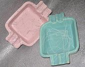 Art Deco Turquoise Blue & Bubblegum Pink Vintage Shawnee 409 Pottery Ashtrays