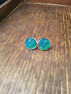 Druzy Blue Stud Earrings Silver Studs Gypsy Jewelry