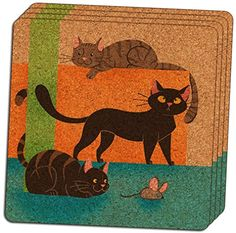 Custom  Cool 4 Inches Set Pack of 4 Square Grip Texture Drink Cup Coasters Made of Cork w Cute Cartoon Kitty Cats  Mouse Abstract Design Colorful Blue Tan Green  Orange -- This is an Amazon Affiliate link. Click on the image for additional details.