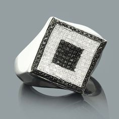 Mens Black and White Diamond Ring 1.25ct Sterling Silver http://dubaiwholesalediamonds.com/enquiry/
