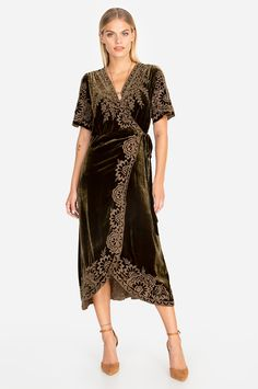 Our Mina Velvet Wrap Dress combines luxe fabrication with on-trend boho details. Gorgeous floral embroidery elevates this piece, as well as the fluttery silhouette and tailored fit. Pair with a simple kimono or jacket and heels for a playful, feminine loo Boho Outfits, Dress Outfits, Johnny Was Clothing, Dress Over Pants, Asymmetrical Skirt, Kimono Dress, Get Dressed, Wrap Dress, Short Sleeve Dresses