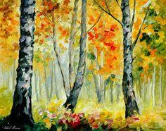 Abedules de mañana Otoño árboles pintura al por AfremovArtStudio