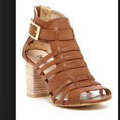 """Chunky Heel Sandals Cognac color. Only worn once. 3.5"""" heel. Perfect style for Fall. Bucco Shoes Sandals"""