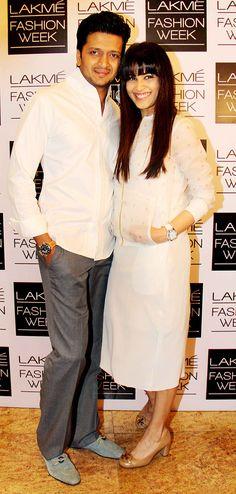 Riteish Deshmukh with Genelia D'Souza Deshmukh at the Lakme Fashion Week 2014 #Style #Bollywood #Fashion #Beauty #LFW2014