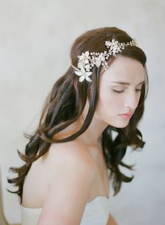 whimsical bridal headpiece, hair vine, asymmetrical, crystal flower, enamel, twigs and honey $175