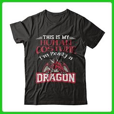 This Is My Human Costume I'm Really A Dragon Funny Halloween T-Shirt Unisex Next Level - Unisex Fitted Tee Black Small - Holiday and seasonal shirts (*Amazon Partner-Link)