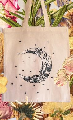 Design was created for a lovely costume order, inspired by moons, stars and flowers. All bags are handmade with organic cotton Embroidery Bags, Simple Embroidery, Hand Embroidery Stitches, Painted Bags, Diy Tote Bag, Floral Tote Bags, Ideias Diy, Canvas Tote Bags, Canvas Totes