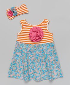 Love this Blue Paisley & Orange Stripe Dress & Headband - Toddler & Girls by Whimsical by Molly Pop Inc. on #zulily! #zulilyfinds