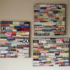 Magazine words on a canvas
