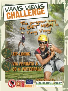 Vang Vieng Challenge Zipline Waterfall Trekking 2014-- Green Discovery also does a LOT of other really cool tours in Laos