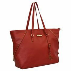 """Laptop tote with multi-compartment interior accessory pockets.  Product: Laptop toteConstruction Material: PolyurethaneColor: RedFeatures:  Tablet compartmentInterior pocketsTop handlesSignature pullsDimensions: 14"""" H x 20"""" W x 5"""" D"""
