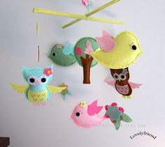 Spring Birds and Owls Mobile Baby Mobile Hanging by lovelyfriend