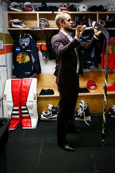 Niklas Hjalmarsson tapes his stick before practice on Saturday. #WesternConferenceFinal