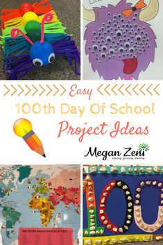 The whole point of celebrating the 100th day of school (besides acknowledging everyone survived the first 100 days…) is to improve numeracy skills beyond two digits to include three digit numbers. Here are some easy 100th day projects for busy families! 100 Day Project Ideas, 100 Day Of School Project, School Projects, Projects For Kids, Crafts For Kids, Kids Diy, 100th Day Of School Crafts, School Fun, School Stuff
