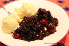 Chocolate Cherry Dr. Pepper Cobbler in the Crockpot - I just might have to try it.