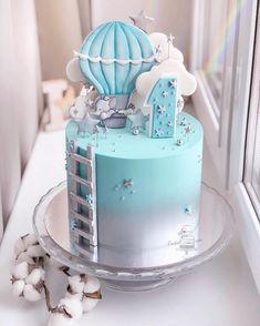 New cake decorating flowers fondant baby shower 65 ideas Baby Boy Birthday Cake, Baby Boy Cakes, First Birthday Cakes, Birthday Cupcakes, Baby Shower Cakes, Birthday Boys, Birthday Cake Design, Pastel Cakes, Fondant Baby