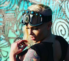 Burning man festival outfit sorted. Custom mafe dust goggles    www.etsy.com/uk/shop/alteregobykelly