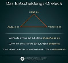 Das Entscheidungs-Dreieck aka Love it, Change it or Leave it ; Words Quotes, Life Quotes, Sayings, Affirmations, True Words, Self Development, Personal Development, Better Life, Self Improvement