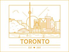 Toronto by Lorrie Liu Toronto City, Toronto Skyline, Skyline Logo, City Journal, City Drawing, Outline Illustration, City Vibe, Skyline Silhouette, Collages