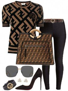 Fendi Sold Out Ff Black & Brown Sweater - Pullover Classy Outfits, Chic Outfits, Fall Outfits, Fashion Outfits, Fashion Trends, Runway Fashion, Dress Outfits, Pullover Jacket, Looks Jeans