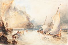 William Callow, 'French Fishing Boats off a Rocky Coast,' 1833, National Gallery of Art, Washington D.C.