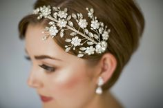 Large statement Swarovski crystal wedding headband - Etta