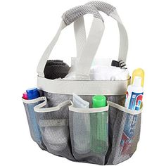 Shower Caddy - Quick Dry Hanging Toiletry and Bath Organizer with 7 Storage Compartments - Perfect Dorm, Gym ,Camp & Travel Tote Bag - Convenient and Sturdy Double Woven Carrying Handle - High Quality Breathable Mesh Fabric Caddy Shower - 100% Money Back Guarantee BLUE